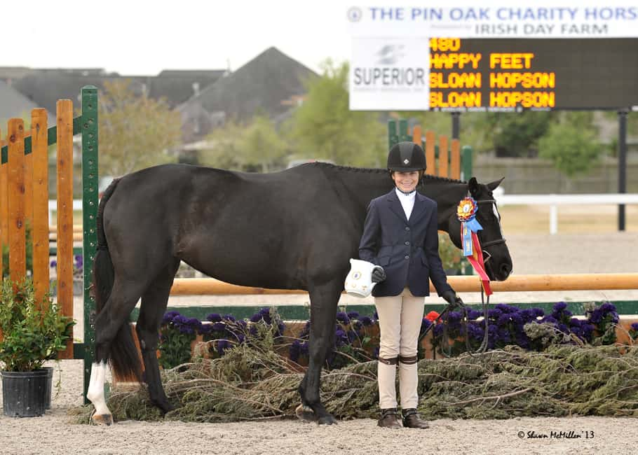 Pin Oak loves ponies and offers many pony classes, Welsh Pony breed divisions, and more.  Pictured is Sloan Hopson and Happy Feet, Champions of the Medium Pony Division both weeks of the Pin Oak Charity Horse Show.  Happy Feet and Sloan went on to show at Devon, Pony Finals, Capital Challenge, and the Washington International Horse Show for a fantastic ribbon-filled show year. Photo Credit: Shawn McMillen Photography